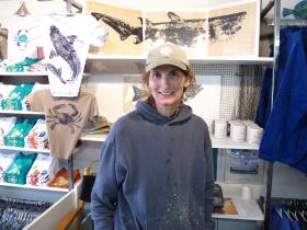 Jenny Bovey at her store in Chatham, MA