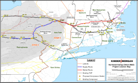 Kinder Morgan's Tennessee Gas Pipeline Northeast Energy Direct Project proposed map.