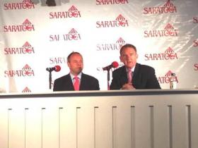 Announcer Larry Collmus and NYRA CEO Chris Kay