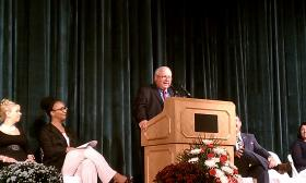Dan Warwick,Superintendent of Public Schools in Springfield, Massachusetts, addresses the 2014 convocation at Van Sickle Middle School.