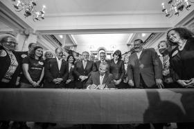 Governor Deval Patrick signed the gun legislation Wednesday at the State House.