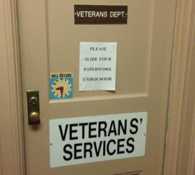 The door to the Veterans' Services Department at Pittsfield City Hall.