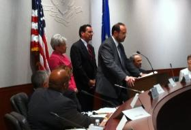 Connecticut's Education Commissioner Stefan Pryor at the microphone
