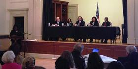 The civil rights conference hosted by Multicultural BRIDGE in Lenox Tuesday featured of a panelists, from left to right, Assistant U.S. Attorney's Kevin O'Regan and Deepika Shukla, civil lawyer Ken Gogel, U.S. Attorney Carmen Ortiz and Judge Harold Ramsey.