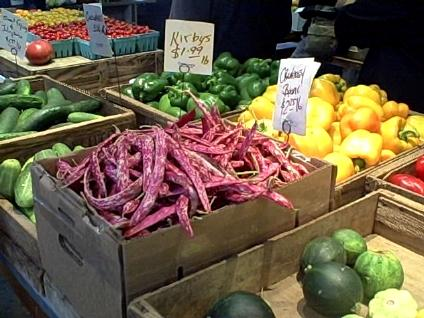 Produce on sale at Davenport Farm Stand on Route 209 in Stone Ridge, NY