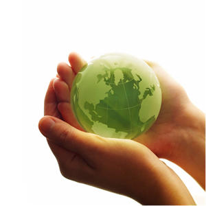 Picture of green earth cradled in hands