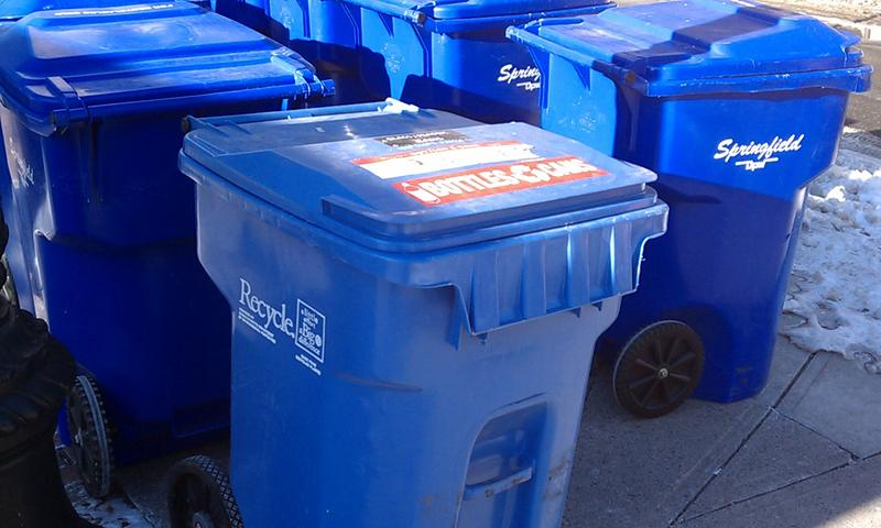 Recycling containers used by Springfield MA DPW