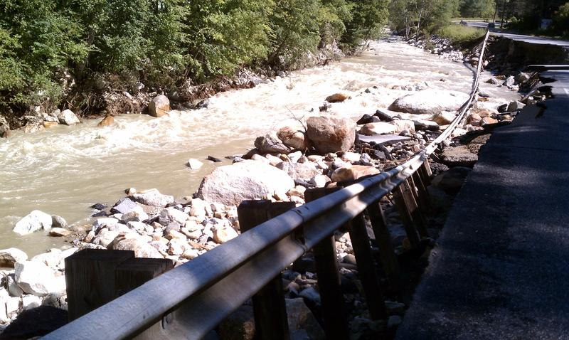 A 400 foot section of Route 8 North in the Berkshires town of Clarksburg that was washed away by the waters of the Hoosic River in Hurricane Irene on August 28.