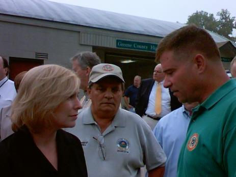 US Sen. Kirsten Gillibrand, Greene County Legislature Chairman Wayne Speenburgh and Congressman Chris Gibson in Catskill, August 31 2011.