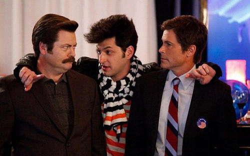 "Nick Offerman (as Ron Swanson), Ben Schwartz (as Jean-Ralphio) and Rob Lowe (as Chris Traeger) on NBC's ""Parks and Recreation"""