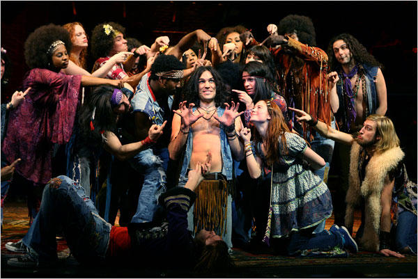 """Will Swenson (center) with the Tribe in """"Hair"""""""