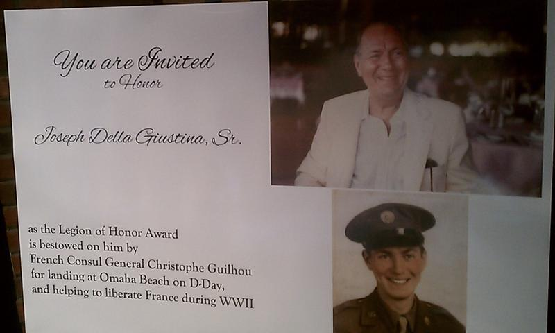 A luncheon in Springfield MA honored WW-II veteran Joseph Della Guistina with the French Legion of Honor