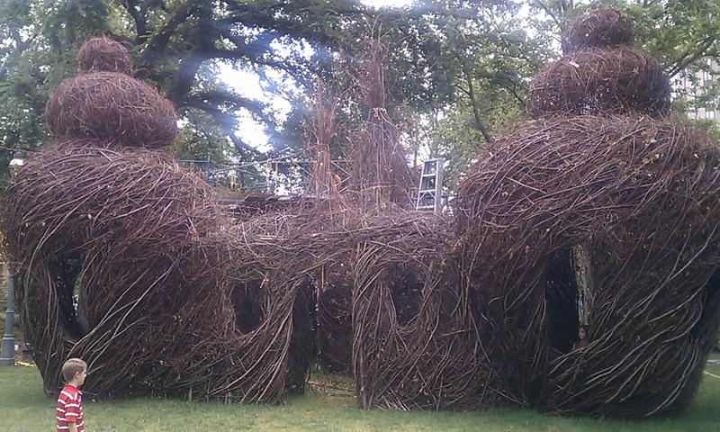 A sculpture made of tree saplings and sticks on the Quadrangle at the Springfield Museums