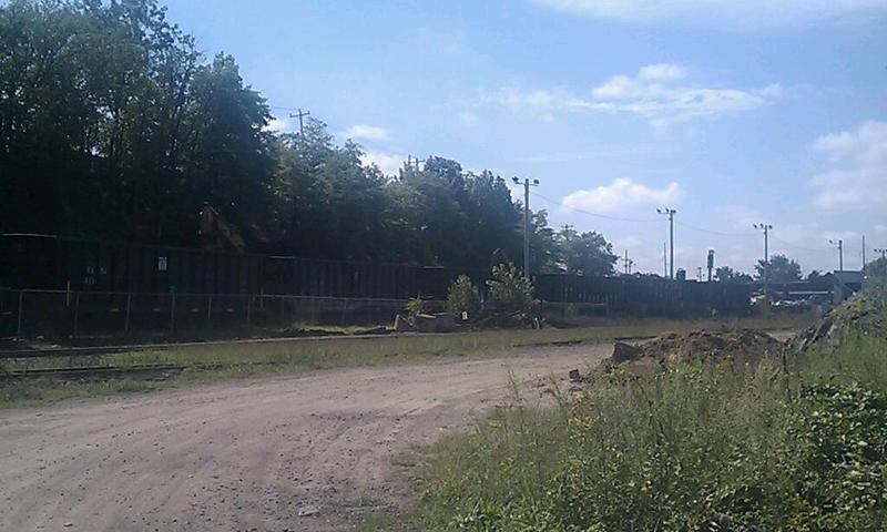 This site near downtown Holyoke MA is where a passenger platform for high speed rail is proposed