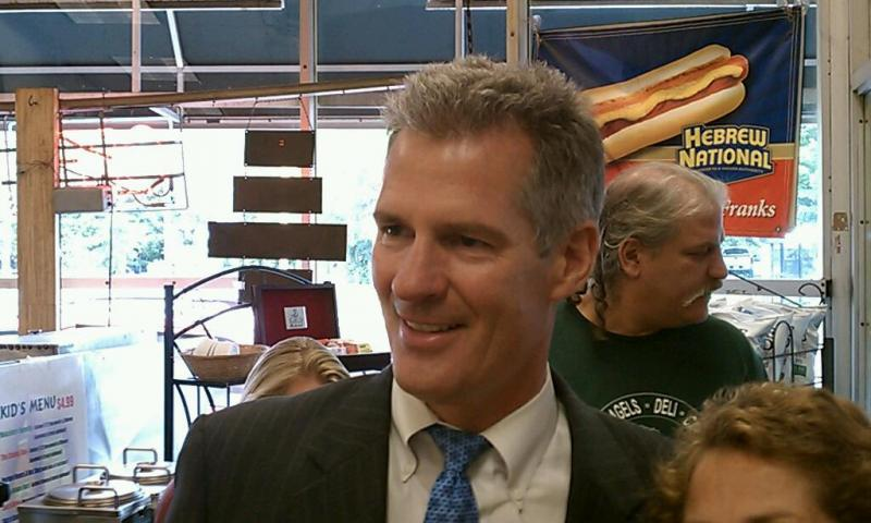US Senator Scott Brown (R-MA) campaigned in Springfield the day after his challenger Elizabeth Warren addressed a national audience at the DNC