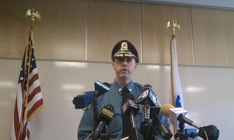UMass Amherst Police Chief John Horvath speaks to the media about an alleged on-campus rape