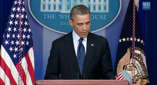 President Obama, speaking to reporters on 4/16/13