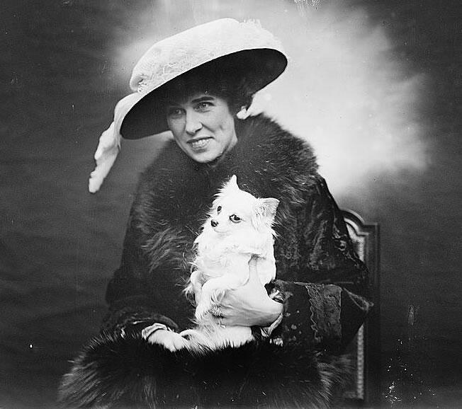 Early 20th century opera singer Bessie Abbott, with her dog