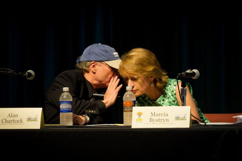 Moderators Alan Chartock and Marcia Bystryn