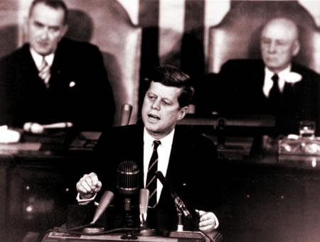President John F. Kennedy addresses Congress