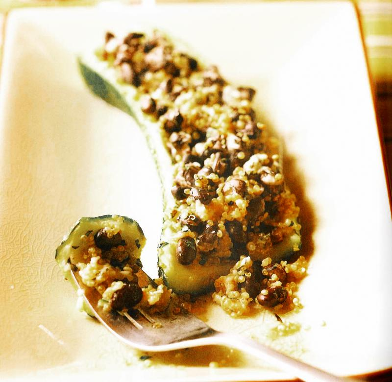 Black Bean and Quinoa-Stuffed Zucchini
