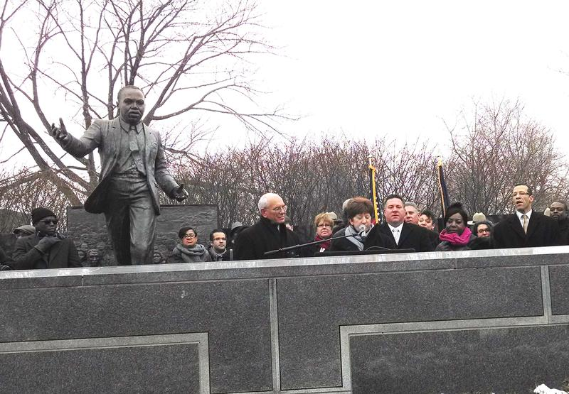 At the Martin Luther King Memorial in Albany: Congressman Paul Tonko, Mayor Kathy Sheehan and County Executive Dan McCoy. (January 2014)