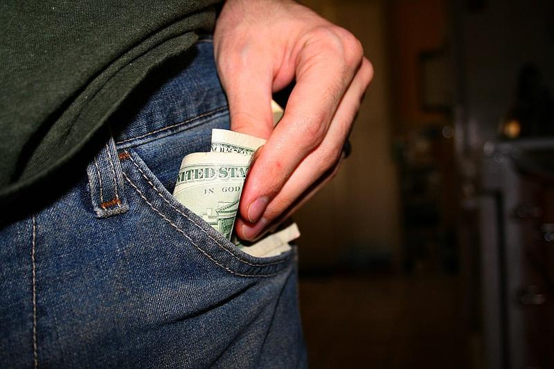 Money in a pants pocket
