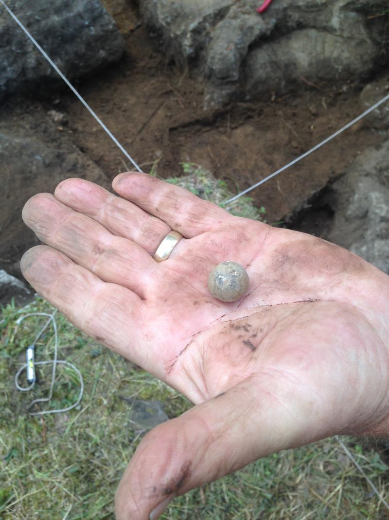 A musket ball dug up from the site