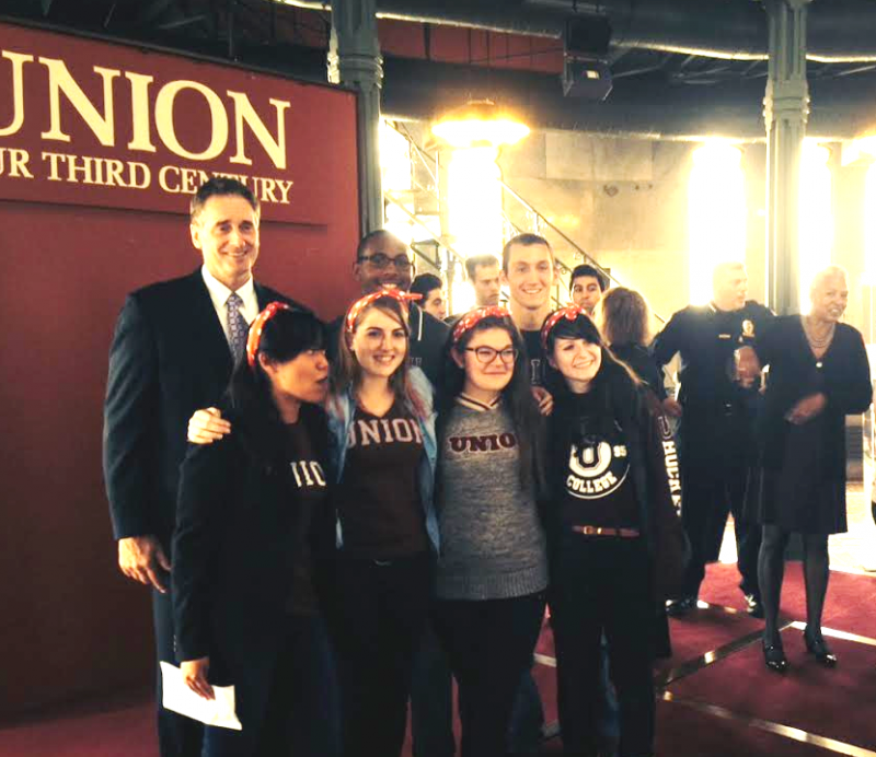 Lt. Gov Duffy with four student-activists at Union College, October 2014