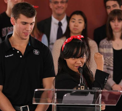 Sebastien Gingras '16, a defenseman on the men's hockey team, joins Shayna Han '15, urging the campus community to get involved to stop sexual assault.
