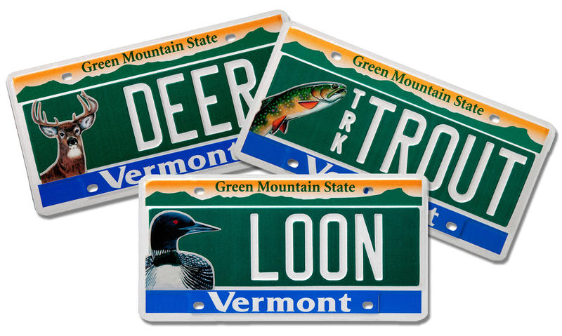 Vermont unveils new conservation license plates wamc for Fishing license vt