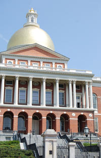 An exterior view of the Massachusetts State House in Boston