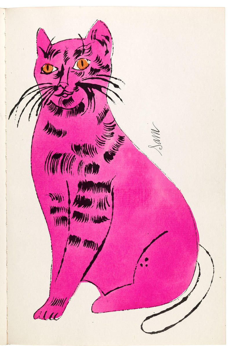 Andy Warhol, 25 Cats Name Sam and One Blue Pussy, 1954, (Printed by Semour Berlin, written by Charles Lisanby), bound artist's book with hand coloring. Courtesy of Williams College Museum of Art, Gift of Richard F. Holmes, Class of 1946.