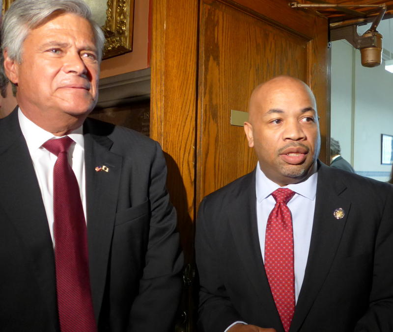 Former NYS Senate Majority Leader Dean Skelos, left, is expelled from the legislature after being convicted of federal charges on Friday.