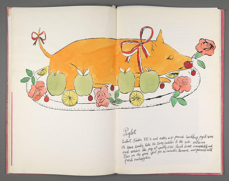 Andy Warhol, Wild Raspberries, 1959, bound artist's book (cookbook), litho-offset, hand coloring throughout with tissue overlays. Courtesy of Williams College Museum of Art, Gift of Richard F. Holmes, Class of 1946.