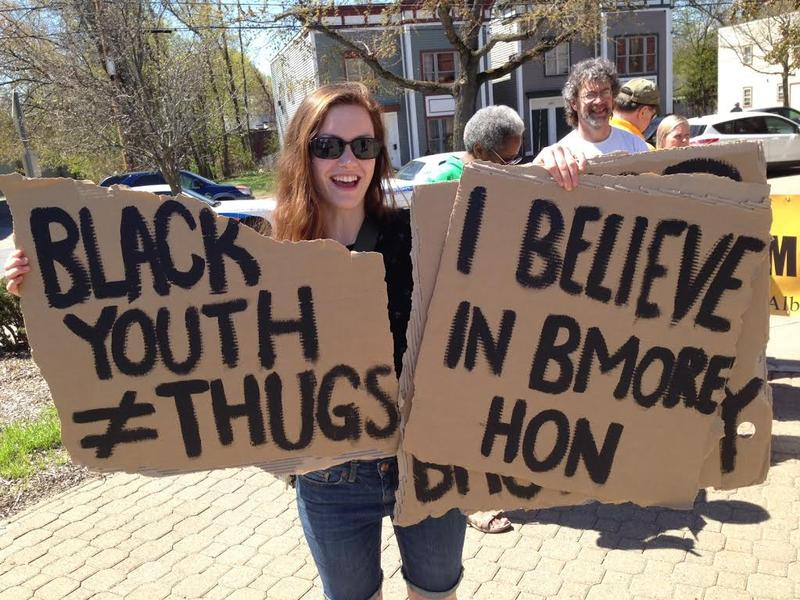 Kate Glens, originally from Baltimore, at the Albany rally outside the Arbor Hill police station May 2, 2015.