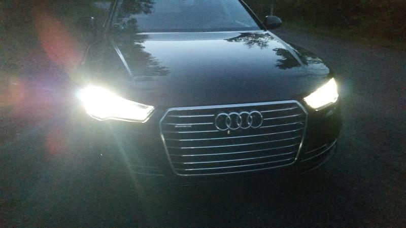 A closeup of the high beams on the Audi A7.