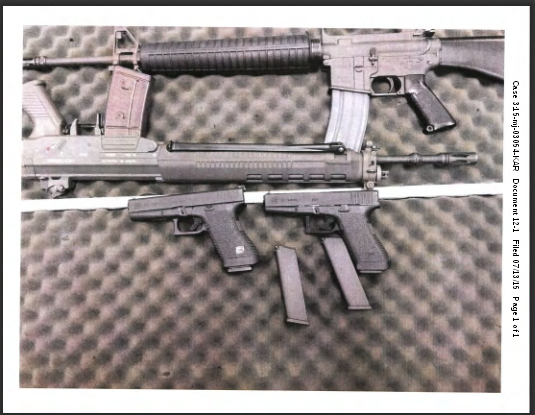 The guns federal prosecutors say Alexander Ciccolo obtained in order to carry out an attack in support of the Islamic State terrorist organization.