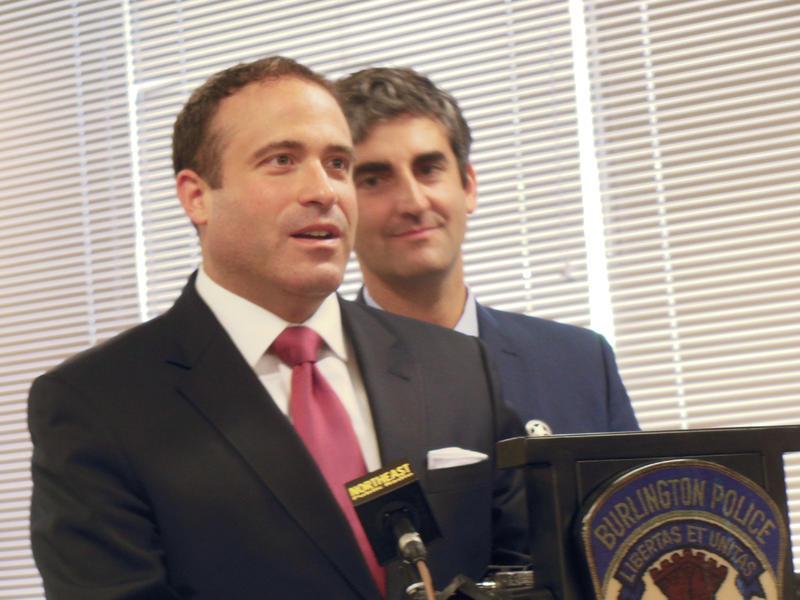 Brandon del Pozo (left) with Burlington Mayor Miro Weinberger