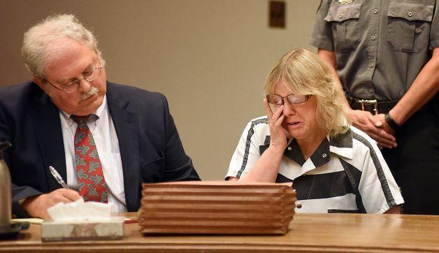 Joyce Mitchell in courtroom with her lawyer during sentencing