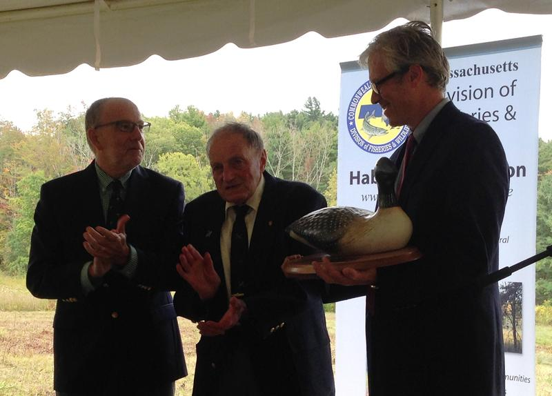 From left to right: Mass. Division of Fisheries and Wildlife Director Jack Buckley, DFW Board Chairman George Darey and Berkshire Natural Resorces Council President Tad Ames.