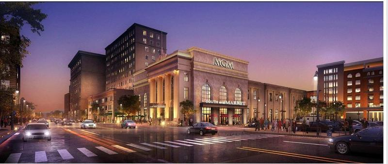 An artists rendering of the proposed MGM Casino in Springfield, MA