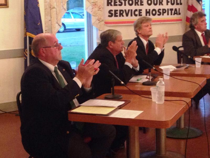 From left to right: Incumbent Mayor Richard Alcombright, John Barrett and Eric Rudd faced off in a healthcare-focused forum Tuesday night. The preliminary election for North Adams' mayoral race is Sept. 22.
