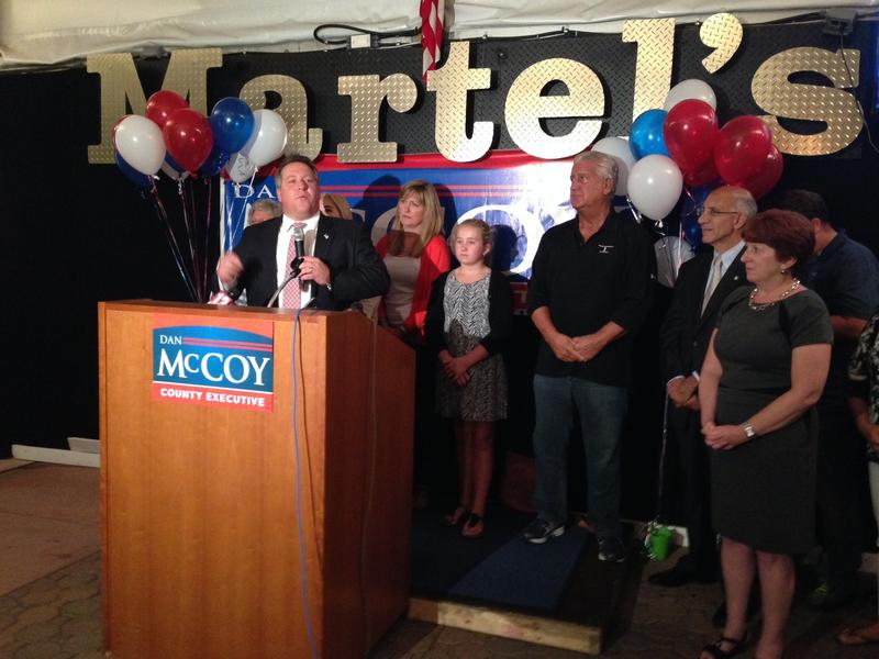 Dan McCoy gives his victory speech on primary night.