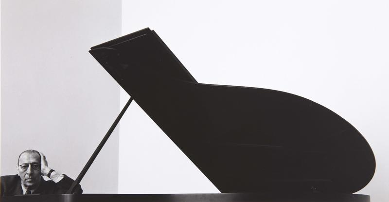Igor Stravinsky and a grand piano