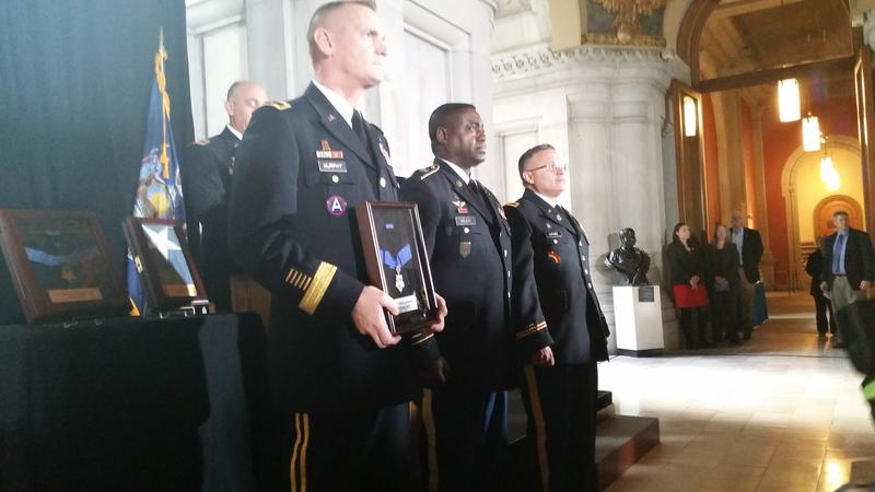 (L to R) Major General Patrick Murphy; Sgt. Maj. Anthony McLean; Col. David Martinez with Sgt. Henry Johnson's Medal of Honor