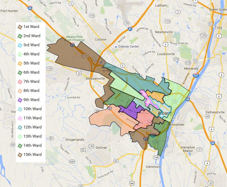 Albany's 15 wards