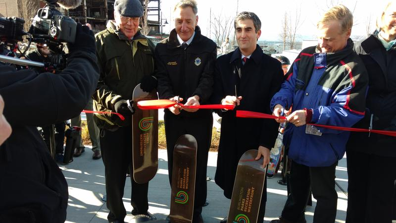 Picture of Vermont officials cutting ribbon at new skatepark on waterfront