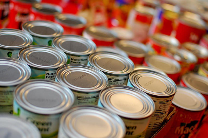 Rows of canned food goods