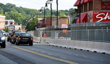 A photo of concrete barriers on Main Street in Springfield at the casino job site